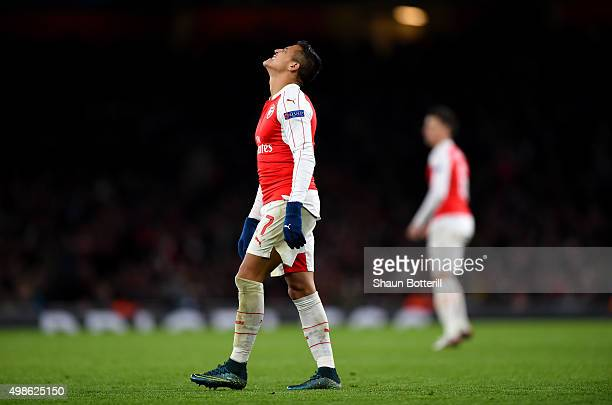 Alexis Sanchez of Arsenal reacts during the UEFA Champions League match between Arsenal FC and GNK Dinamo Zagreb at Emirates Stadium on November 24...