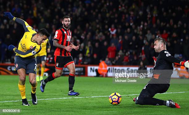 Alexis Sanchez of Arsenal scores a disallowed goal during the Premier League match between AFC Bournemouth and Arsenal at Vitality Stadium on January...