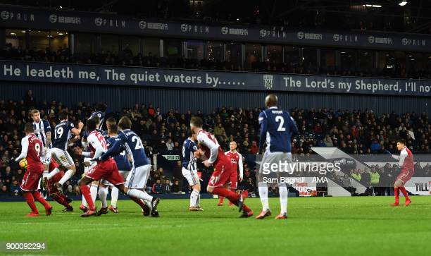 Alexis Sanchez of Arsenal scores a goal to make it 01 during the Premier League match between West Bromwich Albion and Arsenal at The Hawthorns on...