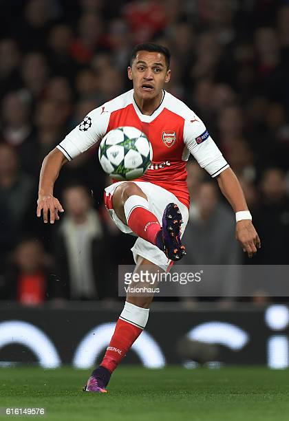 Alexis Sanchez of Arsenal scores during the UEFA Champions League match between Arsenal FC and PFC Ludogorets Razgrad at Emirates Stadium on October...