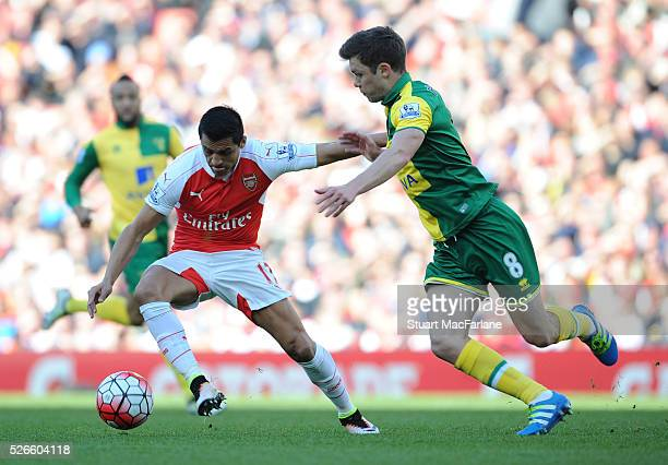Alexis Sanchez of Arsenal takes on Jonny Howson of Norwich during the Barclays Premier League match between Arsenal and Norwich City at Emirates...