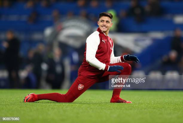 Alexis Sanchez of Arsenal warms up before the Carabao Cup SemiFinal First Leg match between Chelsea and Arsenal at Stamford Bridge on January 10 2018...