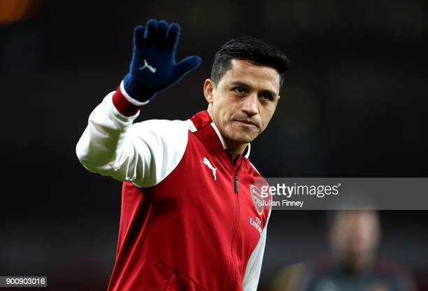Alexis Sanchez of Arsenal warms up prior to the Premier League match between Arsenal and Chelsea at Emirates Stadium on January 3 2018 in London...