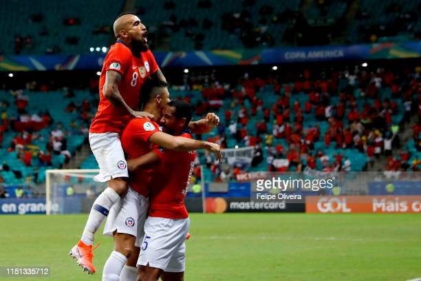 Alexis Sanchez of Chile celebrates after scoring the second goal of his team during the Copa America Brazil 2019 group C match between Ecuador and...