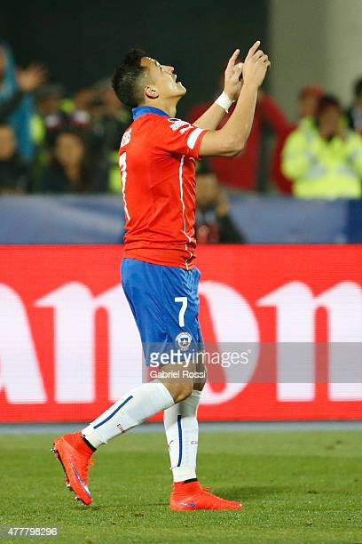 Alexis Sanchez of Chile celebrates after scoring the second goal of his team during the 2015 Copa America Chile Group A match between Chile and...