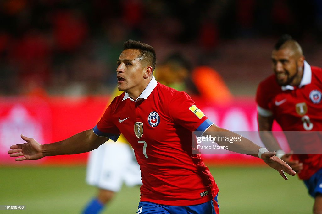 Alexis Sanchez of Chile celebrates after scoring the second goal of his team during a match between Chile and Brasil as a part of FIFA 2018 World Cup Qualifier at Nacional Julio Martinez Pradanos Stadium on October 8, 2015, in Santiago, Chile.