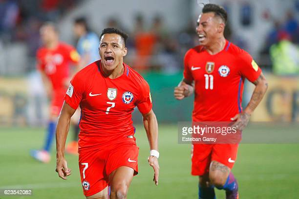 Alexis Sanchez of Chile celebrates after scoring the second goal of his team during a match between Chile and Uruguay as a part of FIFA 2018 World...