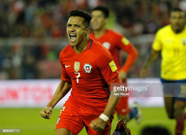 Alexis Sanchez of Chile celebrates after scoring the second goal of his team during a match between Chile and Ecuador as part of FIFA 2018 World Cup...