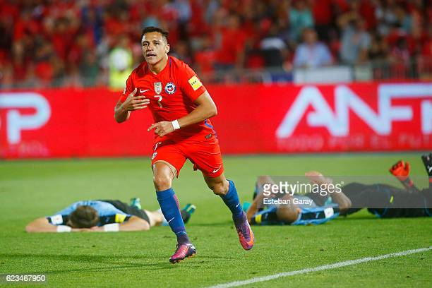 Alexis Sanchez of Chile celebrates after scoring the third goal of his team during a match between Chile and Uruguay as a part of FIFA 2018 World Cup...