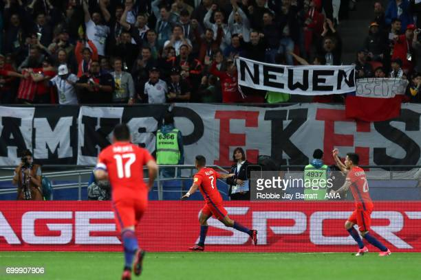 Alexis Sanchez of Chile celebrates scoring a goal to make the score 01 during the FIFA Confederations Cup Russia 2017 Group B match between Germany...