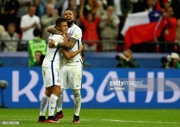 Alexis Sanchez of Chile celebrates scoring his sides third penalty with Arturo Vidal of Chile during the FIFA Confederations Cup Russia 2017...