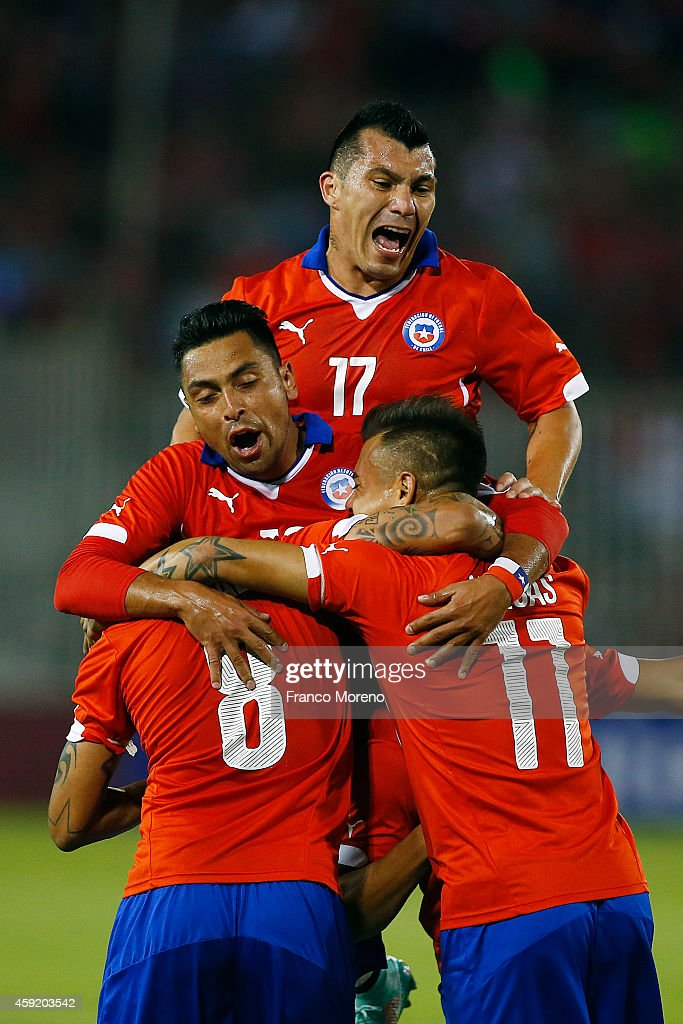 Alexis Sanchez of Chile celebrates the first goal against Uruguay during an international friendly match between Chile and Uruguay at Monumental Stadium on November 18 2014 in Santiago, Chile.
