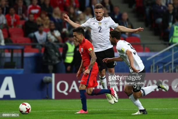 Alexis Sanchez of Chile competes with Shkodran Mustafi and Jonas Hector of Germany during the FIFA Confederations Cup Russia 2017 Group B match...