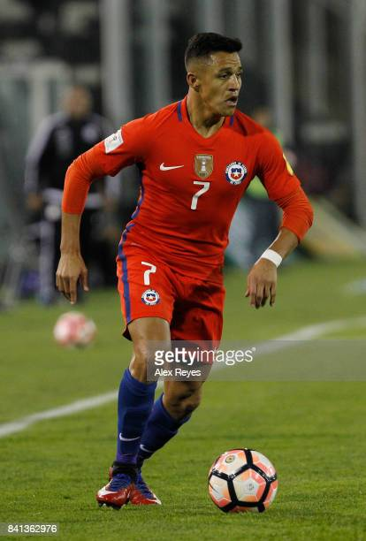 Alexis Sanchez of Chile drives the ball during a match between Chile and Paraguay as part of FIFA 2018 World Cup Qualifiers at Monumental Stadium on...