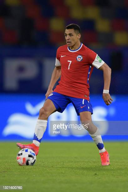 Alexis Sanchez of Chile during a match between Argentina and Chile as part of South American Qualifiers for Qatar 2022 at Estadio Unico Madre de...