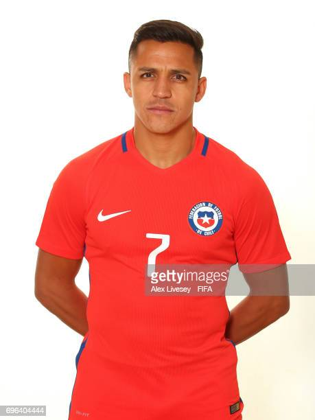 Alexis Sanchez of Chile during a portrait session ahead of the FIFA Confederations Cup Russia 2017 at the Crowne Plaza Hotel on June 15 2017 in...