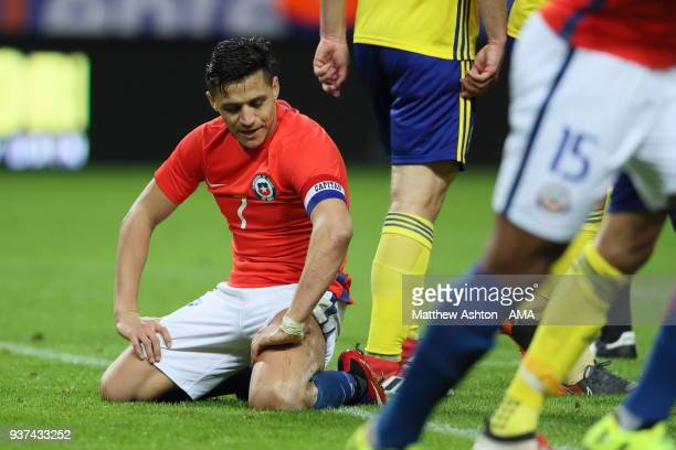 Alexis Sanchez of Chile during the International Friendly match between Sweden and Chile at Friends arena on March 24 2018 in Solna Sweden