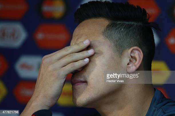 Alexis Sanchez of Chile gestures during a press conference at Nacional Stadium on June 18, 2015 in Santiago, Chile. Chile will face Bolivia as part...