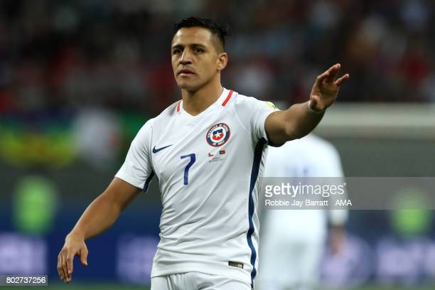 Alexis Sanchez of Chile gestures during the FIFA Confederations Cup Russia 2017 SemiFinal match between Portugal and Chile at Kazan Arena on June 28...