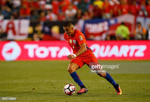 Alexis Sanchez of Chile in action against Panama in the first half during the 2016 Copa America Centenario Group D match at Lincoln Financial Field...