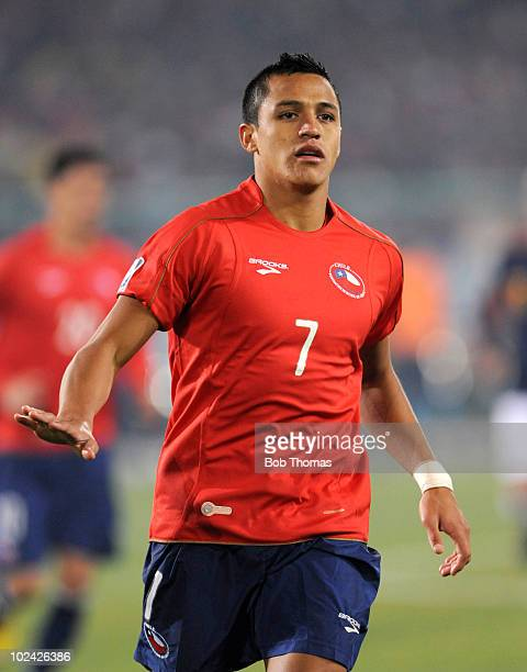Alexis Sanchez of Chile in action during the 2010 FIFA World Cup South Africa Group H match between Chile and Spain at Loftus Versfeld Stadium on...