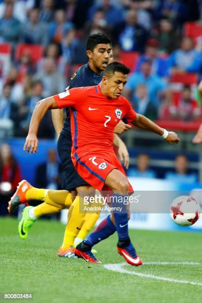 Alexis Sanchez of Chile in action during the FIFA Confederations Cup 2017 Group B soccer match between Chile and Australia at Spartak Stadium in...