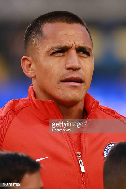 Alexis Sanchez of Chile looks on before the championship match between Argentina and Chile at MetLife Stadium as part of Copa America Centenario US...