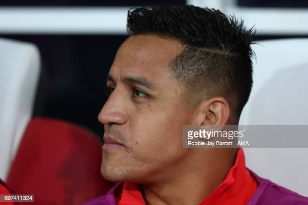 Alexis Sanchez of Chile looks on during the FIFA Confederations Cup Russia 2017 Group B match between Cameroon and Chile at Spartak Stadium on June...