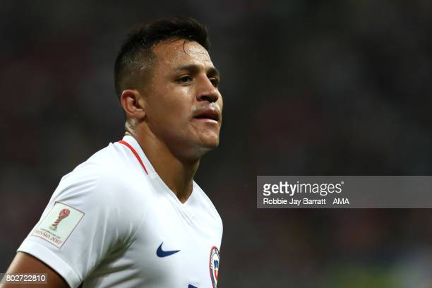 Alexis Sanchez of Chile looks on during the FIFA Confederations Cup Russia 2017 SemiFinal match between Portugal and Chile at Kazan Arena on June 28...