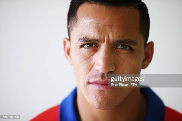 Alexis Sanchez of Chile poses during the official FIFA World Cup 2014 portrait session on June 6 2014 in Belo Horizonte Brazil