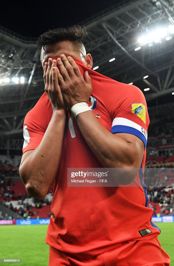 Alexis Sanchez of Chile reacts after the FIFA Confederations Cup Russia 2017 Group B match between Germany and Chile at Kazan Arena on June 22, 2017 in Kazan, Russia.