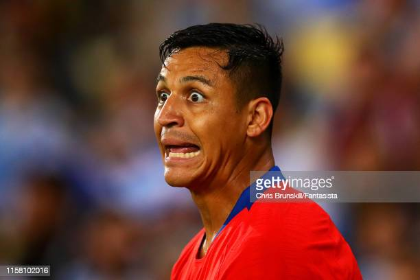 Alexis Sanchez of Chile reacts during the Copa America Brazil 2019 group C match between Chile and Uruguay at Maracana Stadium on June 24, 2019 in...
