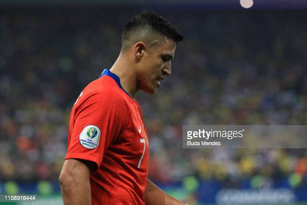 Alexis Sanchez of Chile reacts during the Copa America Brazil 2019 quarterfinal match between Colombia and Chile at Arena Corinthians on June 28,...
