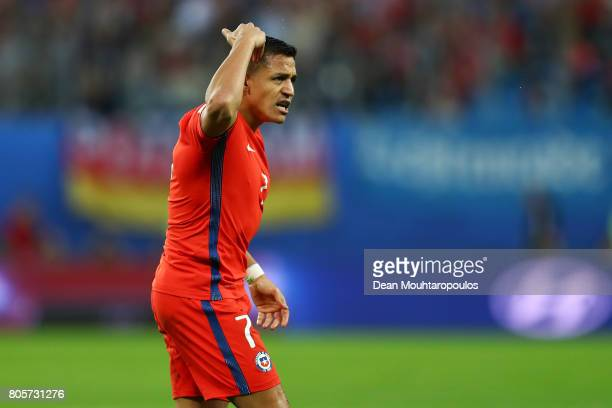 Alexis Sanchez of Chile reacts during the FIFA Confederations Cup Russia 2017 Final between Chile and Germany at Saint Petersburg Stadium on July 2...