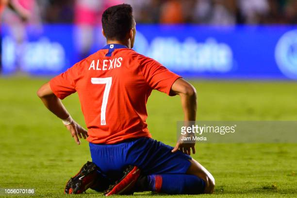 Alexis Sanchez of Chile reacts during the international friendly match between Mexico and Chile at La Corregidora Stadium on October 16 2018 in...