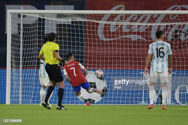 Alexis Sanchez of Chile scores the first goal of his team during a match between Argentina and Chile as part of South American Qualifiers for Qatar...