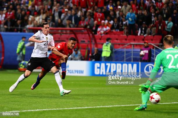 Alexis Sanchez of Chile scores the opening goal during the FIFA Confederations Cup Russia 2017 Group B match between Germany and Chile at Kazan Arena...