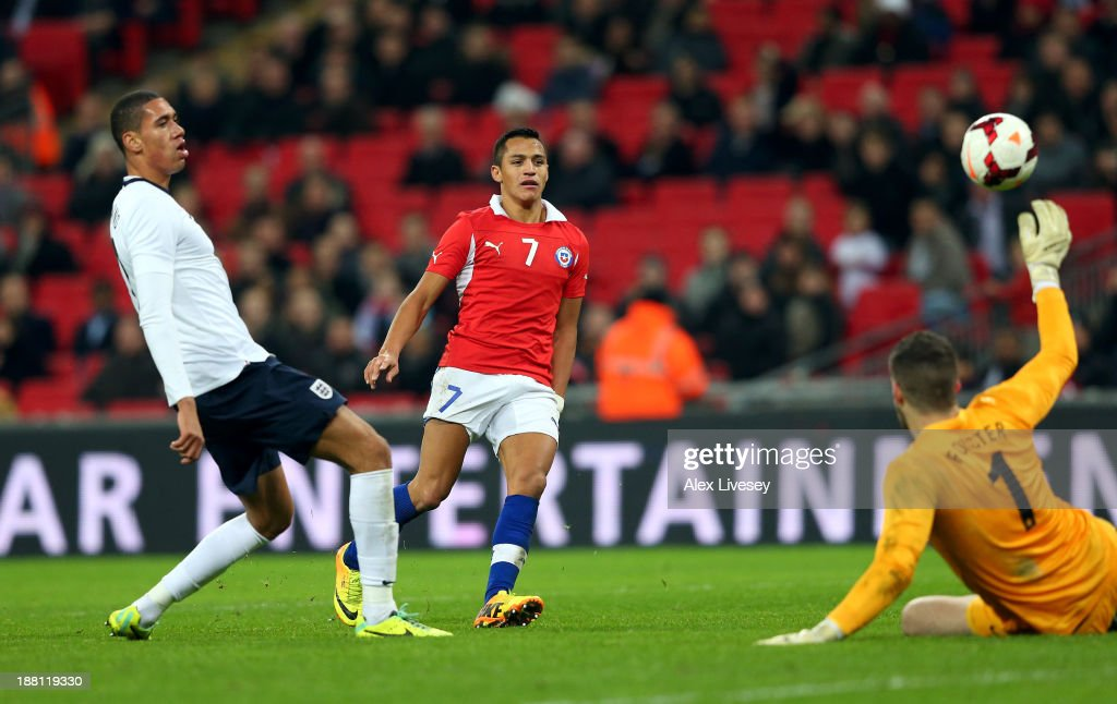 Alexis Sanchez of Chile scoring his second goal during the international friendly match between England and Chile at Wembley Stadium on November 15, 2013 in London, England.