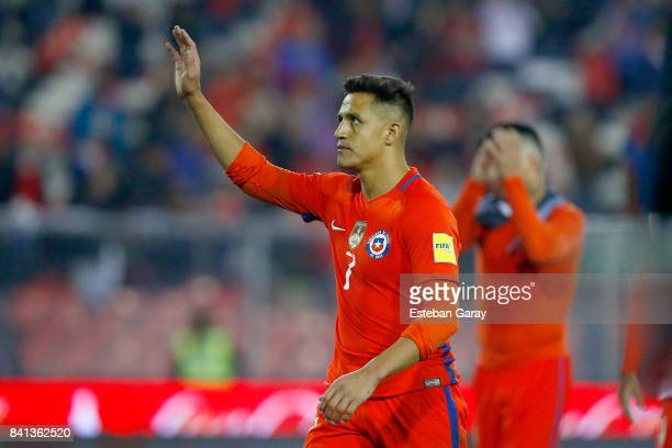 Alexis Sanchez of Chile waves at the fans after a match between Chile and Paraguay as part of FIFA 2018 World Cup Qualifiers at Monumental Stadium on...
