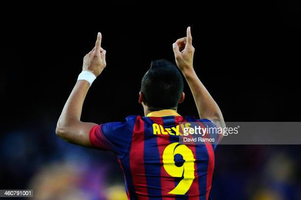 Alexis Sanchez of FC Barcelona celebrates after scoring his team's fourth goal during the La Liga match between FC Barcelona and Elche FC at Camp Nou...