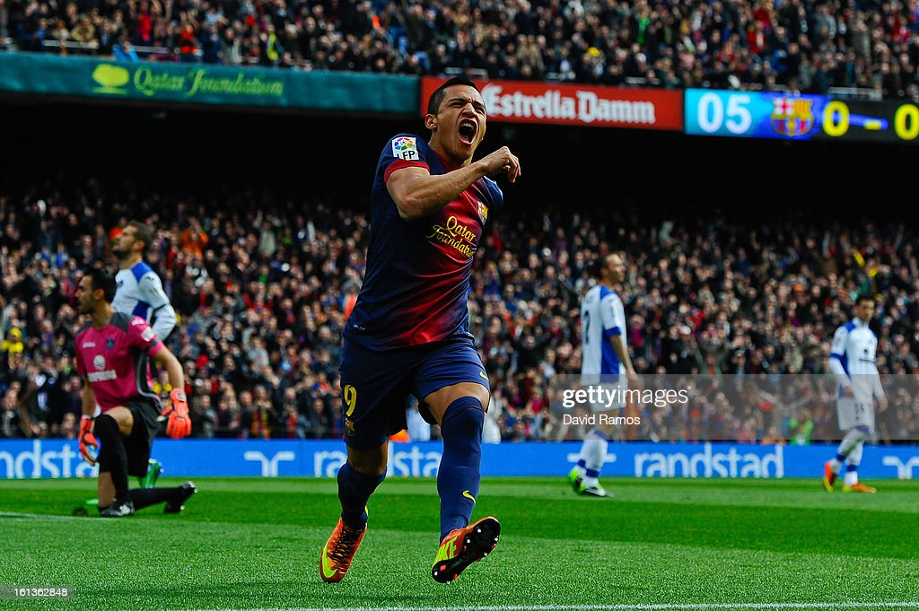 Alexis Sanchez of FC Barcelona celebrates after scoring the opening goal during the La Liga match between FC Barcelona and Getafe CF at Camp Nou on February 10, 2013 in Barcelona, Spain.