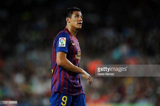 Alexis Sanchez of FC Barcelona looks on during the La Liga match between FC Barcelona and Villarreal CF at Camp Nou on August 29 2011 in Barcelona...