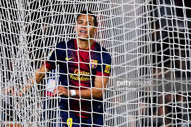 Alexis Sanchez of FC Barcelona looks on during the La Liga match between FC Barcelona and Rayo Vallecano at Camp Nou on March 17 2013 in Barcelona...