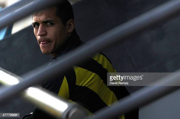 Alexis Sanchez of FC Barcelona looks on prior a training session ahead the UEFA Champions League Round of 16 second Leg match against Manchester City...