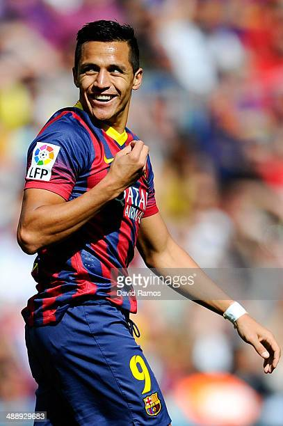 Alexis Sanchez of FC Barcelona reacts during the La Liga match between FC Barcelona and Getafe CF at Nou Camp on May 3 2014 in Barcelona Spain