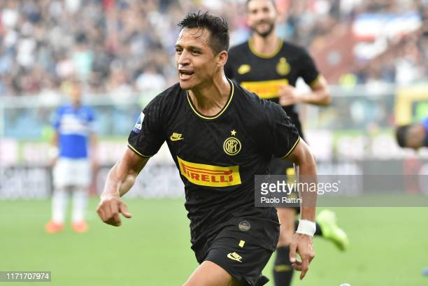 Alexis Sanchez of FC Internazionale celebrates after scoring the first goal of his team during the Serie A match between UC Sampdoria and FC...
