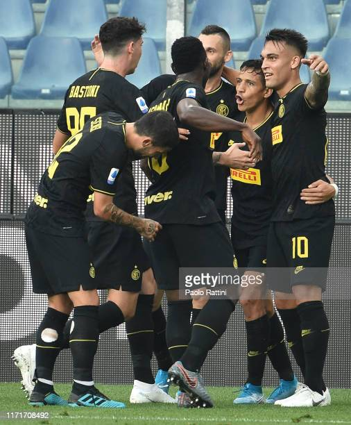 Alexis Sanchez of FC Internazionale celebrates with teammates after scoring the 02 goal during the Serie A match between UC Sampdoria and FC...