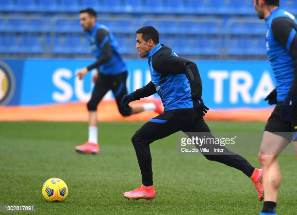 Alexis Sanchez of FC Internazionale in action during a training session at Appiano Gentile on February 18, 2021 in Como, Italy.