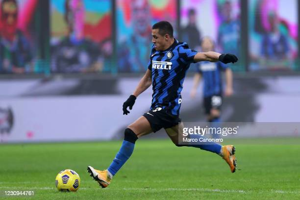 Alexis Sanchez of Fc Internazionale in action during the Coppa Italia Semi-final first leg match between Fc Internazionale and Juventus Fc. Juventus...