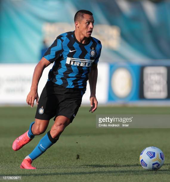 Alexis Sanchez of FC Internazionale in action during the PreSeason Friendly match between FC Internazionale and Lugano at the club's training ground...